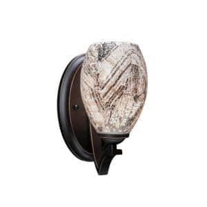 1-Light Dark Granite Wall Sconce with 5 in. Natural Fusion Glass