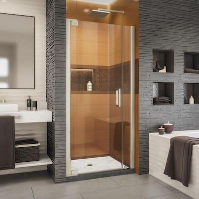 Elegance-LS 38 in. to 40 in. W x 72 in. H Frameless Pivot Shower Door in Brushed Nickel
