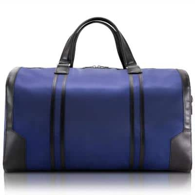 McKlein Pasadena, 20 in. Navy Nano Tech-Light Nylon with Leather Trim Carry-All Duffel