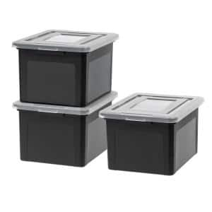 Dual Purpose Letter and Legal Size File Box, Black/Clear (3 Pack)