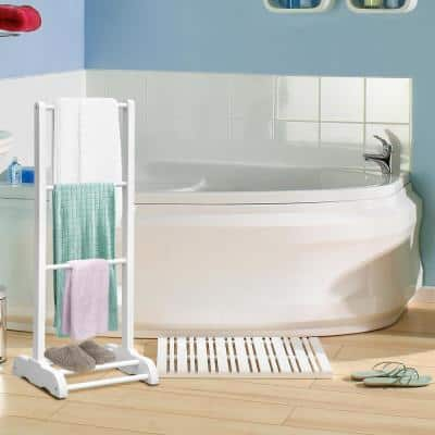 3-Bar Freestanding Towel Rack in White with Bottom Storage Shelf