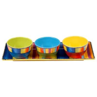 Sierra 4-Piece Seasonal Multicolored Earthenware 14.75 in. Tray and 10 oz. Bowl Set