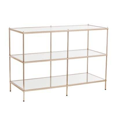 Pandora 42 in. Warm Gold Rectangle Glass Console Table with Shelves