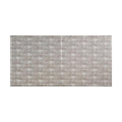 Border Fill 2 ft. x 4 ft. Glue Up Vinyl Ceiling Tile in Crosshatch Silver (40 sq. ft.)