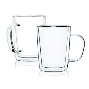 Double Wall Glass Mugs Coffee Mugs Tall Cups With Handle (Set of 8)