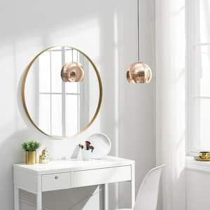 Medium Round Brass Hooks Modern Mirror (27.6 in. H x 27.6 in. W)