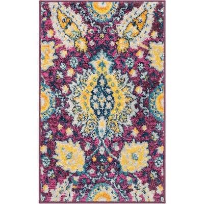 Mystic Ash Bohemian Floral Vintage Lavendar 20 in. x 31. in Accent Door Mat
