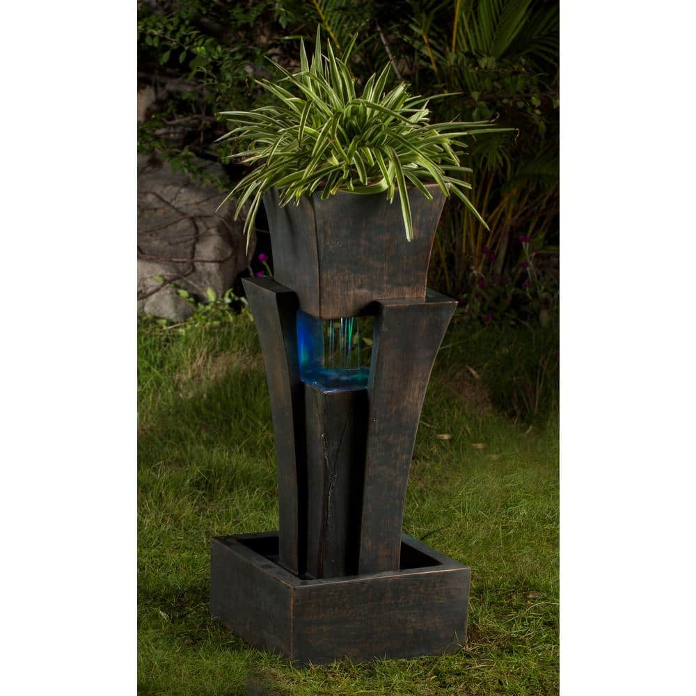 Fountain Cellar Raining Water Fountain With Planter Led Light Fcl048 The Home Depot