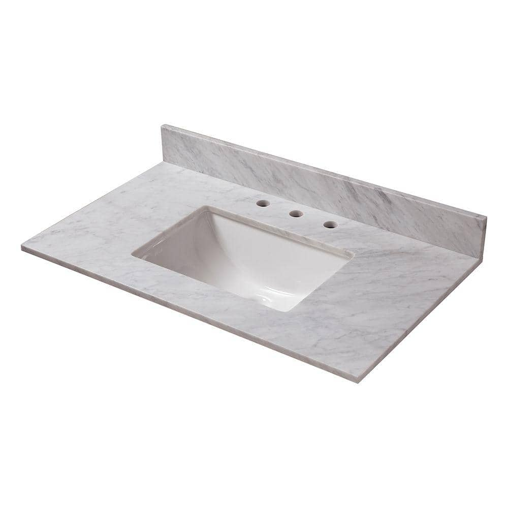 Home Decorators Collection 37 In W Marble Vanity Top In Carrara With Trough Sink 27108 The Home Depot