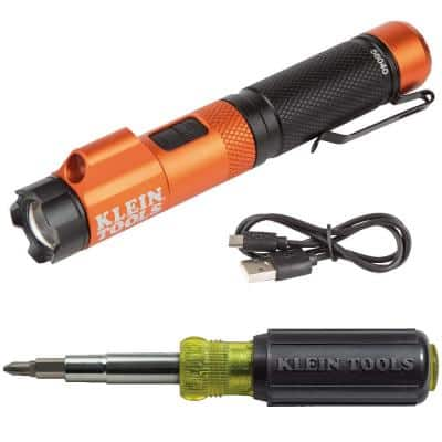 Rechargeable Focus Flashlight with Laser and 11-In-1 Screwdriver/Nut Driver Tool Set
