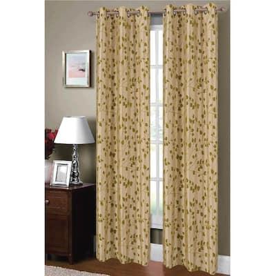 Beige/Sage Leaf Faux Silk Grommet Room Darkening Curtain - 38 in. W x 84 in. L  (Set of 2)