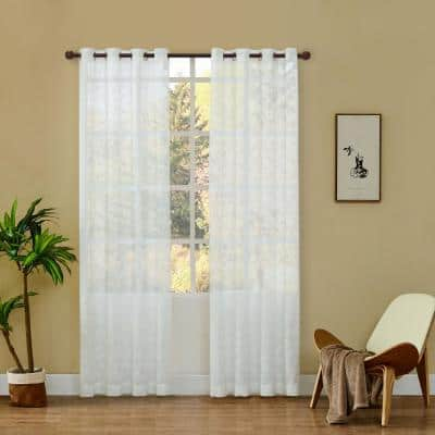 Ivy 54 in.L x 52 in. W Sheer Polyester Curtain in White