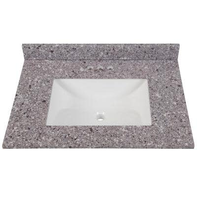 31 in. W x 22 in. D Stone Effects Vanity Top in Mineral Gray with White Sink