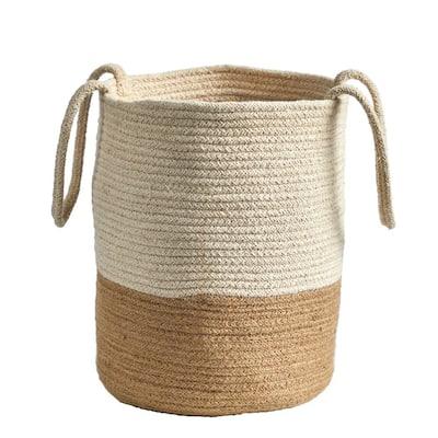 12 in. Handmade Natural Burlap Woven Basket Planter