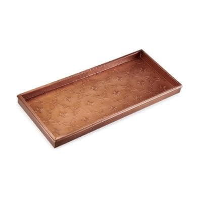 30 in. x 13 in. Lattice Boot Tray for Boots, Shoes, Plants, Pet Bowls and More, Copper Finish
