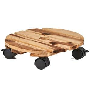 12 in. Wood Planter Caddy with Rotating Casters (Set of 2)