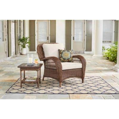 Beacon Park Brown Wicker Outdoor Patio Stationary Lounge Chair with CushionGuard Almond Tan Cushions