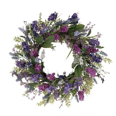 24 in. Artificial Lavender Floral Spring Wreath