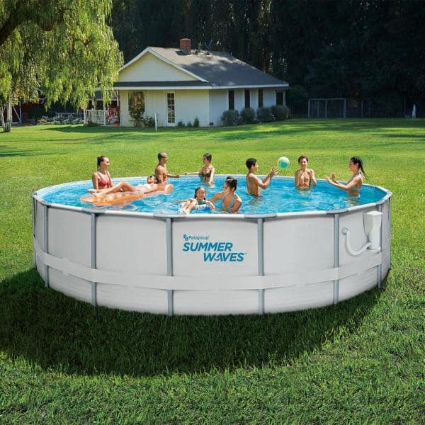 Summer Waves Elite 18 Ft Round 48 In D Metal Frame Pool Set With Filter Pump P4001848b The Home Depot