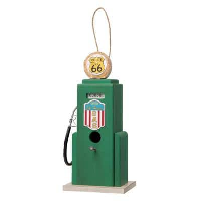 13.75 in. H Green Wood Gas Pump Birdhouse