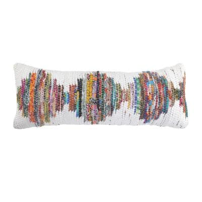 Chindi White/Multicolored 14 in. x 36 in. Soft Poly-Fill Geometric Throw Pillow