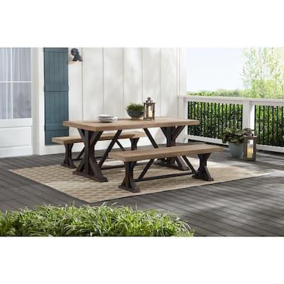 Hampton Bay Silver Oaks 3-Piece Teak Wood Outdoor Patio Dining Set