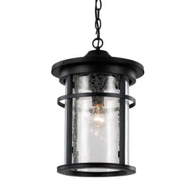 Avalon 9 in. 1-Light Black Outdoor Pendant Light with Crackled Glass