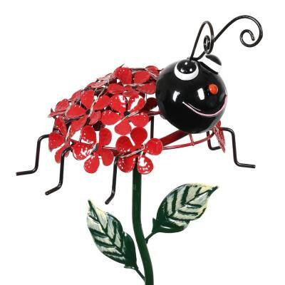 Solar Ladybug 2.18 ft. Red Metal Garden Stake