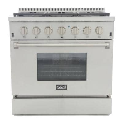 Pro-Style 36 in. 5.2 cu. ft. Dual Fuel Range with Sealed Burners and Convection Oven in Stainless Steel
