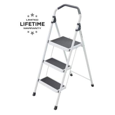 3-Step Steel Lightweight Step Stool Ladder 225 lbs. Load Capacity Type II Duty Rating