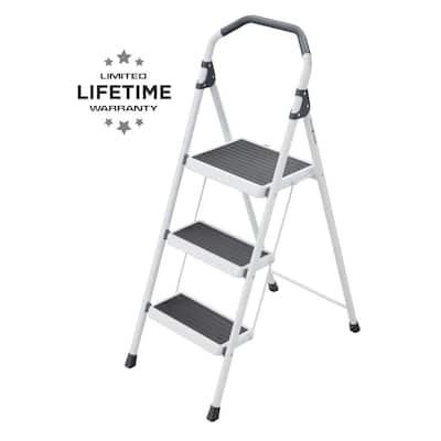 3-Step Steel Lightweight Step Stool Ladder 225 lbs. Load Capacity Type II Duty Rating