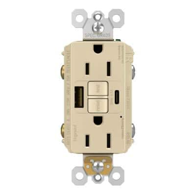 radiant 15 Amp 125-Volt Tamper Resistant Self-Test GFCI Duplex Outlet with Type A/C USB with Ivory