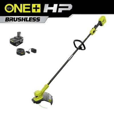 ONE+ HP 18V Brushless 13 in. Cordless Battery String Trimmer with 4.0 Ah Battery and Charger