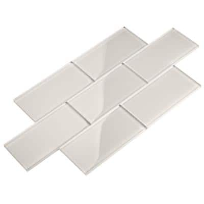 Agreeable Gray 3 in. x 6 in. x 8mm Glass Subway Wall Tile (5 sq. ft./Case)
