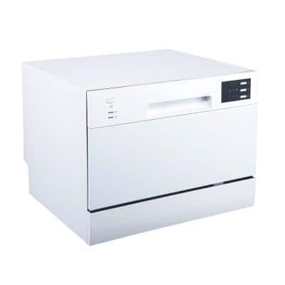 21 in. White Electronic Portable 120-Volt Dishwasher with 6 Cycles with 6-Place Settings Capacity