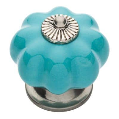 1-1/2 in. (38 mm) Satin Nickel and Teal Ceramic Melon Cabinet Knob