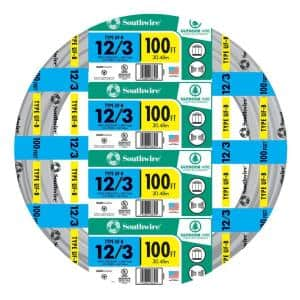 100 ft. 12/3 Gray Solid CU UF-B W/G Wire