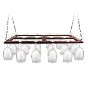 Wood Ceiling Hanging Wine Glas Rack