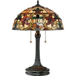 Tiffany Style 61 in. Bronze Floor Lamp and 22 in. Table Lamp Set