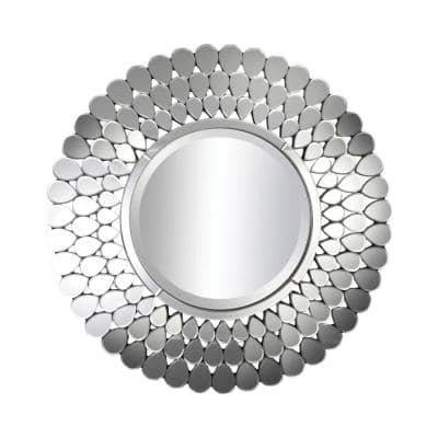 Medium Round Silver Beveled Glass Contemporary Mirror (39.38 in. H x 39.38 in. W)