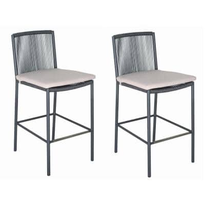 Skopelos Gray Aluminum Outdoor Dining Stool with Taupe Cushions (2-Pack)