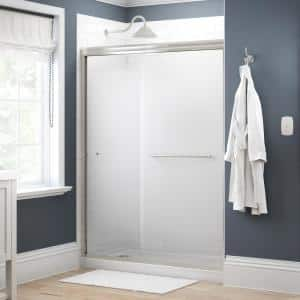 Simplicity 60 in. x 70 in. Semi-Frameless Traditional Sliding Shower Door in Nickel with Droplet Glass