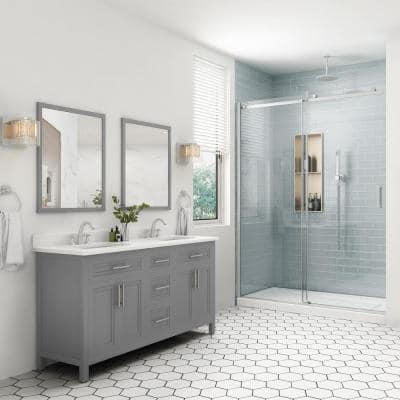 Mayfield 60 in. W x 22 in. D Bath Vanity in American Gray with Cultured Marble Vanity Top in White with White Basin