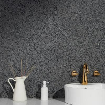 Countryside Micropebbles 11.81 in. x 11.81 in. Black Lava Floor and Wall Mosaic (0.97 sq. ft. / sheet)