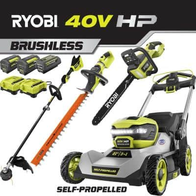 21 in. 40V HP Lithium-Ion Brushless Cordless Walk Behind Self-Propelled Lawn Mower/Trimmer/Chainsaw/Hedge - 3 Batteries