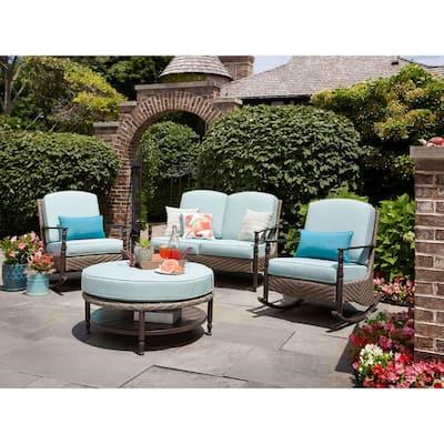 Bolingbrook Wicker Outdoor Patio Loveseat with Sunbrella Spectrum Mist Cushions