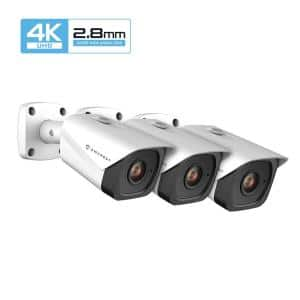 UltraHD 4K (8MP) Wired Outdoor Bullet POE IP Security Camera with 98 ft. Night Vision IP67 Weatherproof, White (3-Pack)
