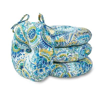 Baltic Paisley 15 in. Round Outdoor Seat Cushion (4-Pack)