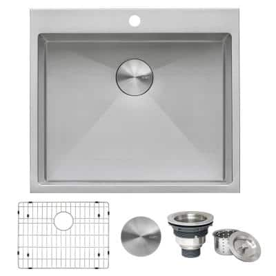 Forma 25 in. x 22 in. x 12 in. Deep 16-Gauge Stainless Steel Drop-in Single Bowl Tight Radius Laundry Utility Sink