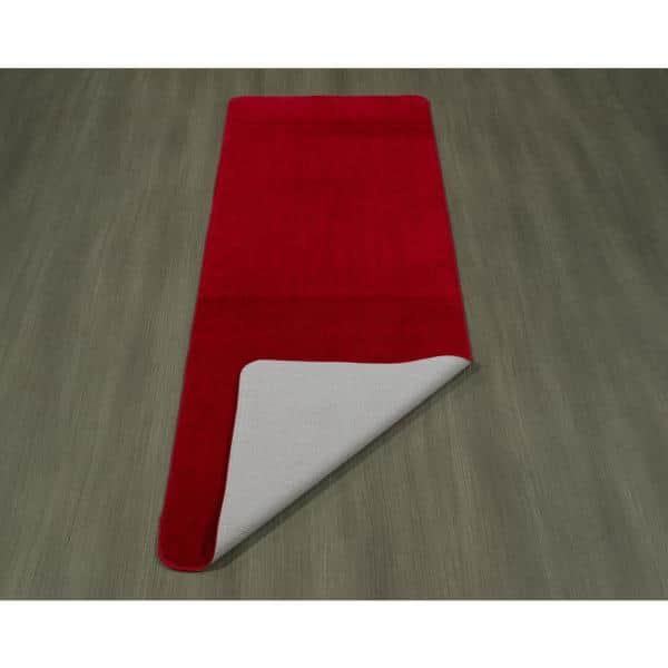 Ottomanson Solid Design Red 2 Ft 2 In X 6 Ft Non Slip Bathroom Rug Runner Sft870010 2x6 The Home Depot